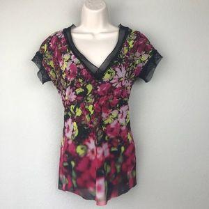 Jean Paul Gaultier Floral V Neck Black Mesh Shirt